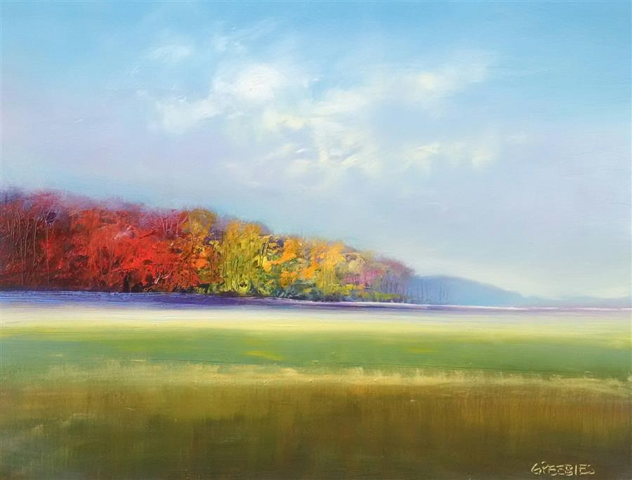 Original art for sale at UGallery.com | Viewing October by GEORGE PEEBLES | $825 | Oil painting | 24' h x 30' w | http://www.ugallery.com/oil-painting-viewing-october