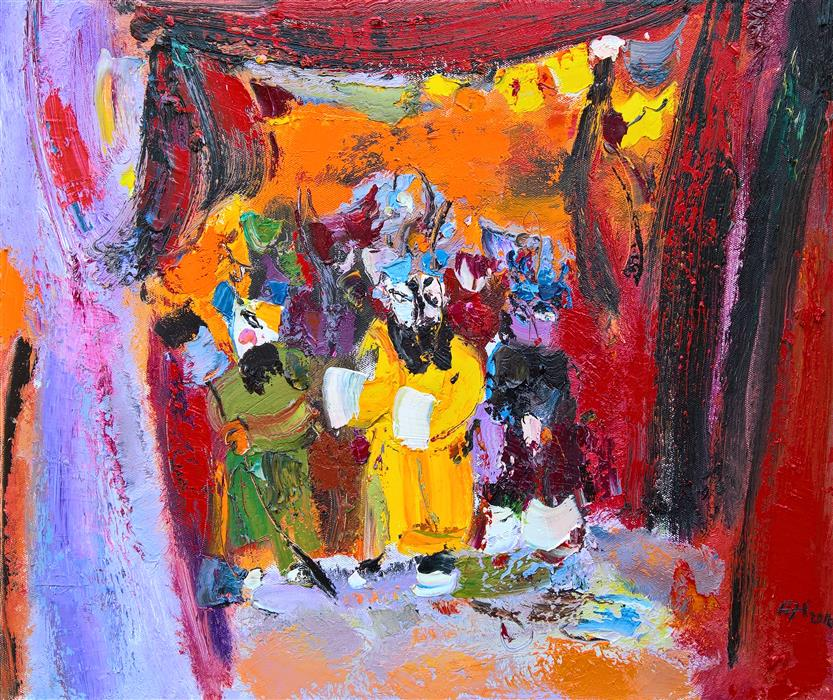 Original art for sale at UGallery.com | Roles of Beijing Opera by YI TIAN | $850 | Oil painting | 16' h x 20' w | http://www.ugallery.com/oil-painting-roles-of-beijing-opera