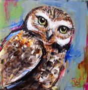 Animals art,Representational art,acrylic painting,Burrowing Owl