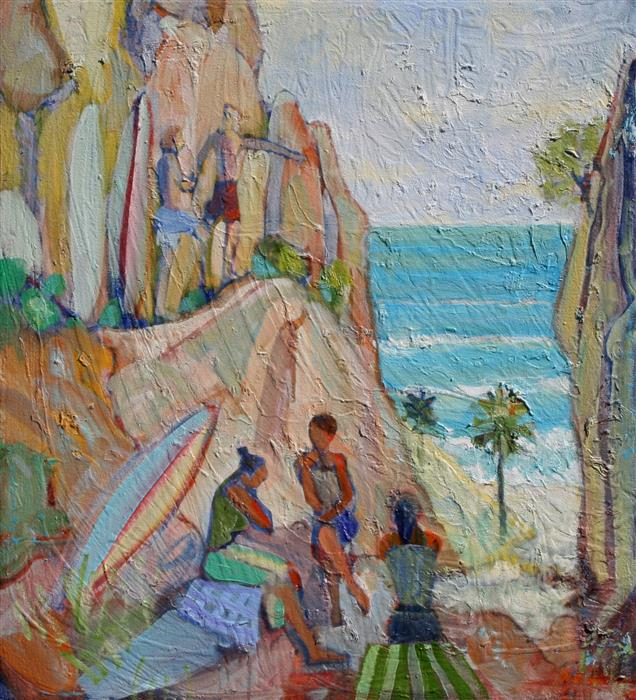 Original art for sale at UGallery.com | Hidden Beach by JAMES HARTMAN | $1,975 | Oil painting | 34.25' h x 31' w | http://www.ugallery.com/oil-painting-hidden-beach