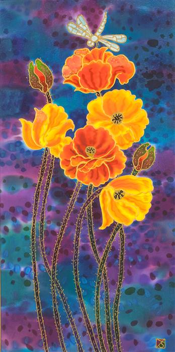 Original art for sale at UGallery.com | Yellow Poppies by YELENA SIDOROVA | $500 | Mixed media artwork | 24' h x 12' w | http://www.ugallery.com/mixed-media-artwork-yellow-poppies