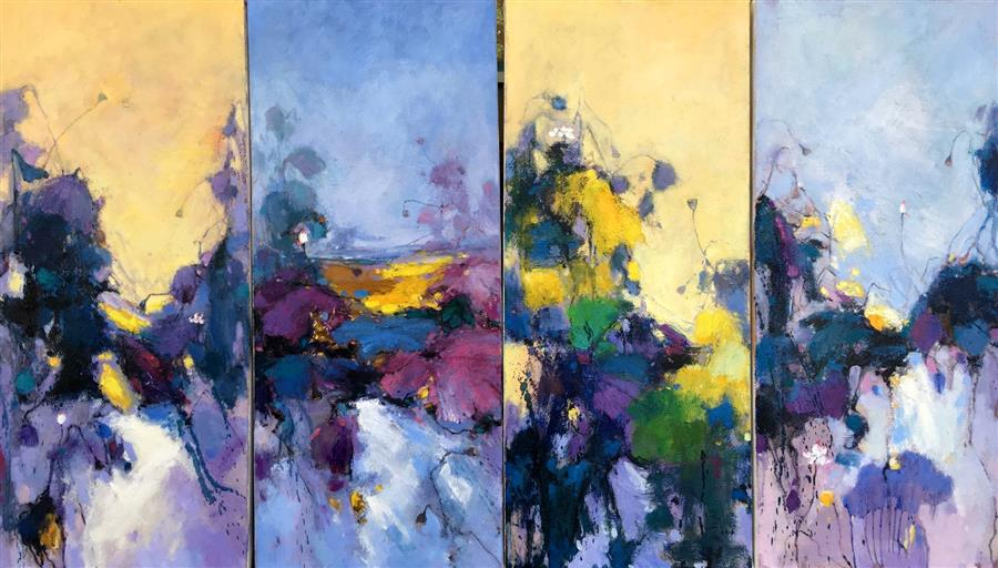 Discover Original Art by Jingshen You | Waterlily 32, Four Panels oil painting | Art for Sale Online at UGallery