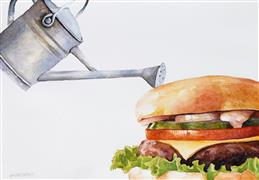 Still Life art,Cuisine art,Representational art,watercolor painting,Garden Burger