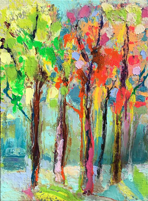 Discover Original Art by Gloria Blatt | September Trees mixed media artwork | Art for Sale Online at UGallery