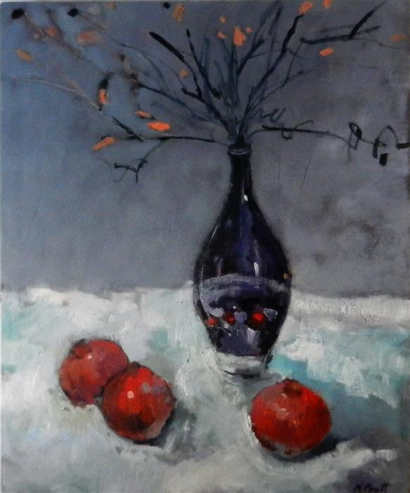 Discover Original Art by Mary Pratt | Pomegranates with Purple Vase oil painting | Art for Sale Online at UGallery