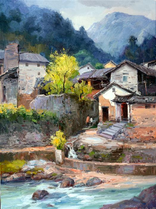 Original art for sale at UGallery.com | Chinese Rural Village 8 by SHENGNAN LI | $1,300 | Oil painting | 32' h x 24' w | http://www.ugallery.com/oil-painting-chinese-rural-village-8