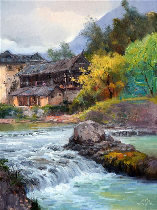 Original art for sale at UGallery.com | Chinese Rural Village 5 by SHENGNAN LI | $900 | Oil painting | 32' h x 24' w | http://www.ugallery.com/oil-painting-chinese-rural-village-5