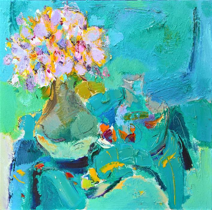 Original art for sale at UGallery.com | Flowers in the Vase 2 by YI TIAN | $1,075 | Oil painting | 20' h x 20' w | http://www.ugallery.com/oil-painting-flowers-in-the-vase-2