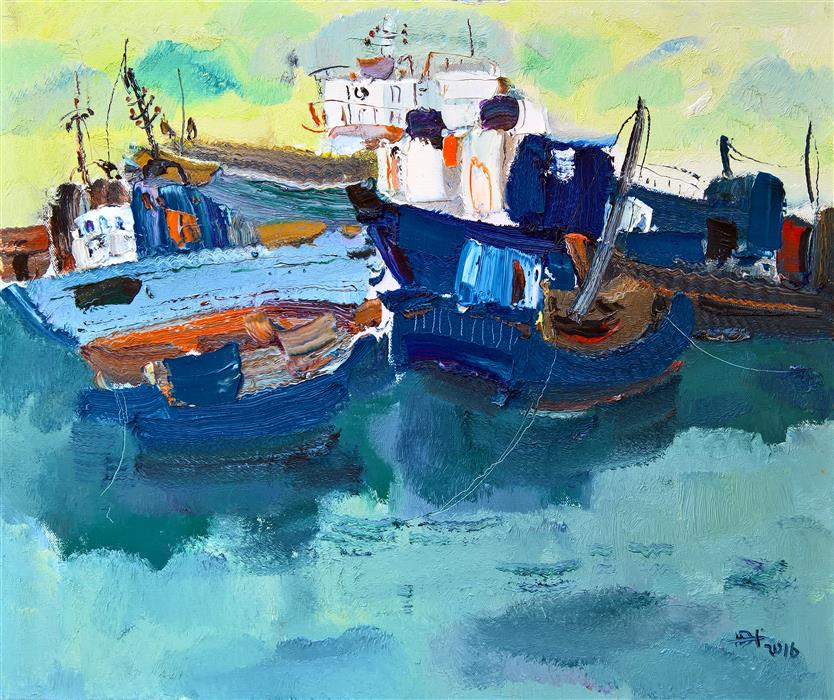 Original art for sale at UGallery.com | Boats in the Port 4 by YI TIAN | $1,100 | Oil painting | 20' h x 24' w | http://www.ugallery.com/oil-painting-boats-in-the-port-4