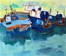 Impressionism art,Seascape art,Representational art,oil painting,Boats in the Port 4