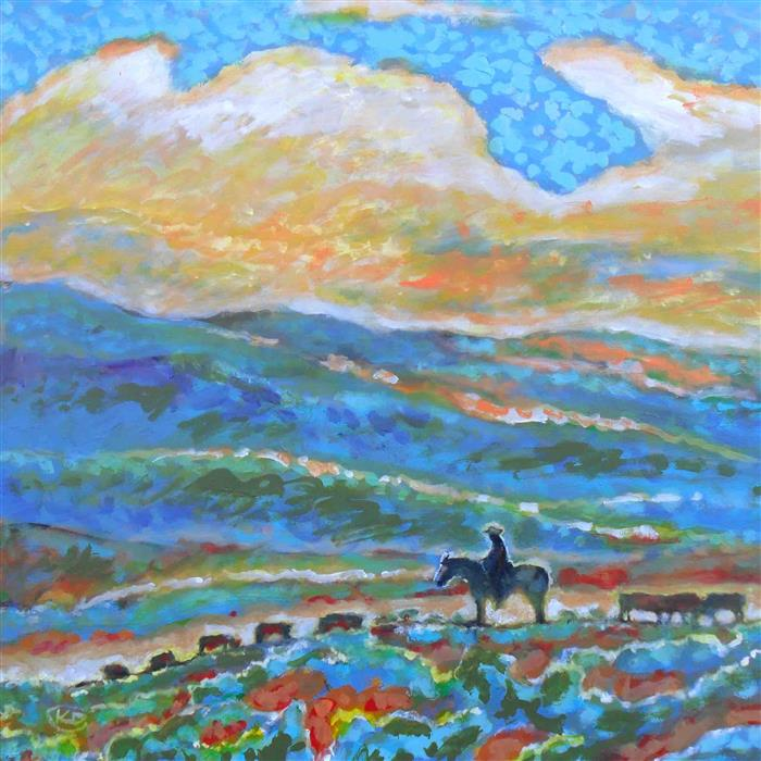 Original art for sale at UGallery.com | Cowboy On The Open Range by KIP DECKER | $1,725 | Acrylic painting | 30' h x 30' w | http://www.ugallery.com/acrylic-painting-cowboy-on-the-open-range