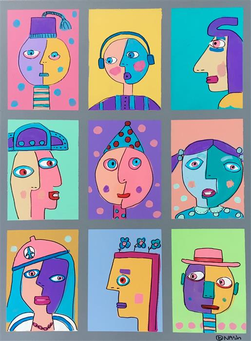 Discover Original Art by Brian Nash | Nine Faces acrylic painting | Art for Sale Online at UGallery