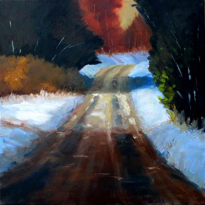 Discover Original Art by Nancy Merkle | Winter Road oil painting | Art for Sale Online at UGallery