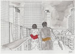 Architecture art,Travel art,Fashion art,Representational art,ink artwork,Lovers at a Modern Balcony - Tokyo