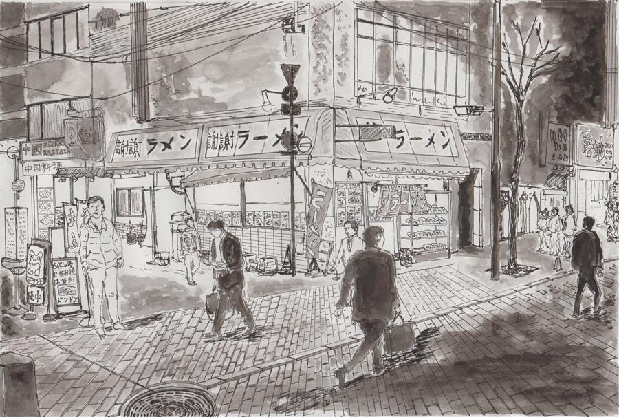 Discover Original Art by Orlando Marin-Lopez | Tokyo Street at Night ink artwork | Art for Sale Online at UGallery