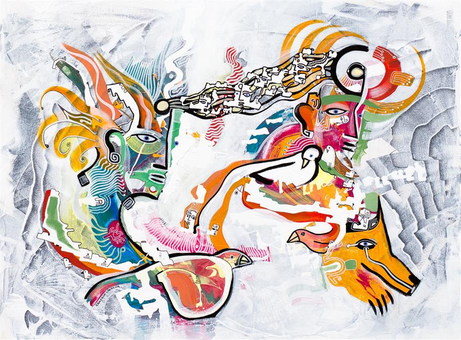 Original art for sale at UGallery.com | Telepathic Communication by CAMERON LIMBRICK | $4,375 | Acrylic painting | 30' h x 40' w | http://www.ugallery.com/acrylic-painting-telepathic-communication