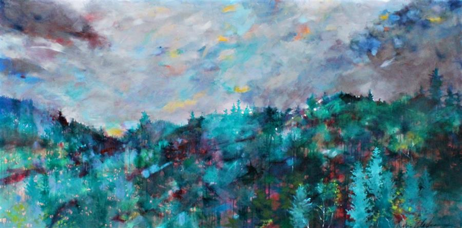 Original art for sale at UGallery.com | Clouds over the Cascades by KERRI  BLACKMAN | $3,475 | Acrylic painting | 36' h x 72' w | http://www.ugallery.com/acrylic-painting-clouds-over-the-cascades
