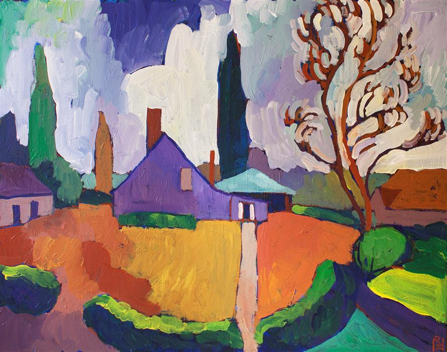 Original art for sale at UGallery.com | Purple House by ROBERT HOFHERR | $850 | Acrylic painting | 22' h x 28' w | http://www.ugallery.com/acrylic-painting-purple-house
