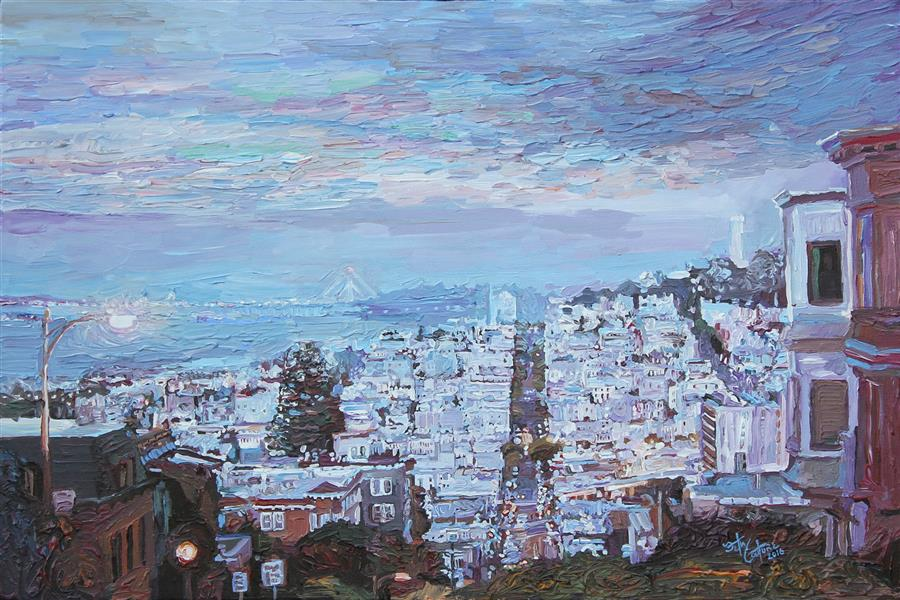 Original art for sale at UGallery.com | Lombard St in September Dusk by SETH COUTURE | $775 | Acrylic painting | 16' h x 24' w | http://www.ugallery.com/acrylic-painting-lombard-st-in-september-dusk