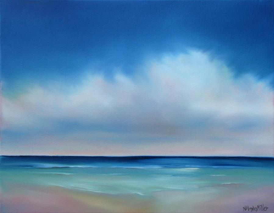 Original art for sale at UGallery.com | Quiet Seaside by NANCY HUGHES MILLER | $650 | Oil painting | 14' h x 18' w | http://www.ugallery.com/oil-painting-quiet-seaside