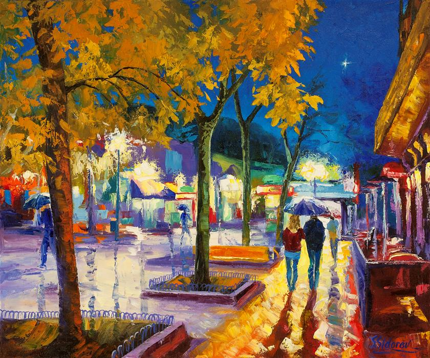 Original art for sale at UGallery.com | Night Star. Pearl Street. Boulder. by STANISLAV SIDOROV | $1,400 | Oil painting | 20' h x 24' w | http://www.ugallery.com/oil-painting-night-star-pearl-street-boulder