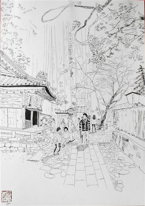 Discover Original Art by Orlando Marin-Lopez | Nikko Temple - Japan ink artwork | Art for Sale Online at UGallery
