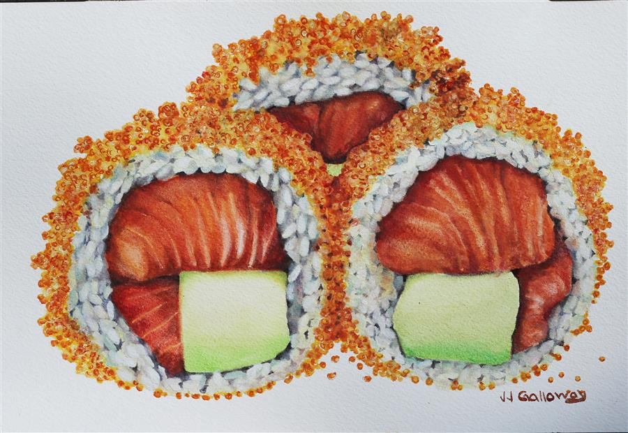 Original art for sale at UGallery.com | Sushi Rolled in Masago by JJ GALLOWAY | $250 | Watercolor painting | 7' h x 10.25' w | http://www.ugallery.com/watercolor-painting-sushi-rolled-in-masago