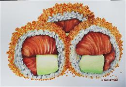 Pop art,Cuisine art,Realism art,Representational art,watercolor painting,Sushi Rolled in Masago