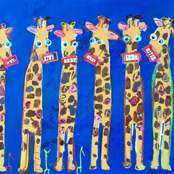 Original art for sale at UGallery.com | Giraffes by BRIAN NASH | $1,575 | Acrylic painting | 36' h x 36' w | http://www.ugallery.com/acrylic-painting-giraffes