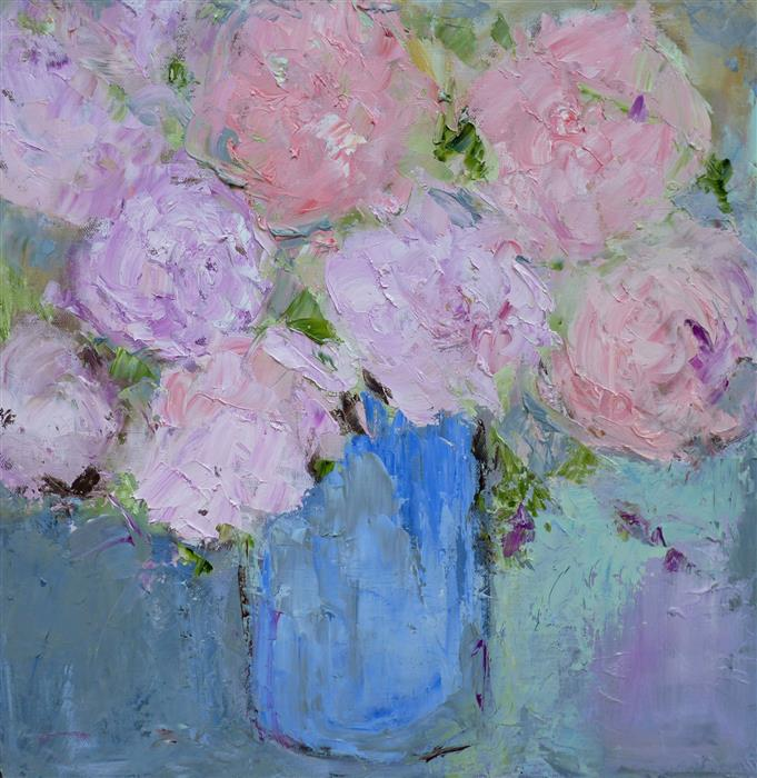 Original art for sale at UGallery.com | Peonies by JUDY MACKEY | $525 | Oil painting | 16' h x 16' w | http://www.ugallery.com/oil-painting-peonies
