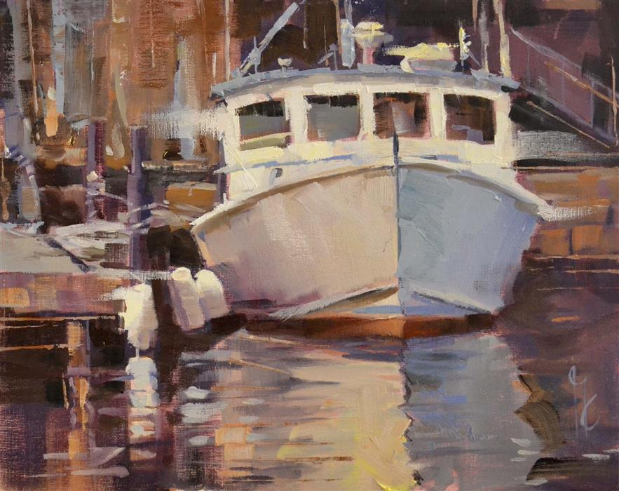 Discover Original Art by Garry Colby | Docked oil painting | Art for Sale Online at UGallery