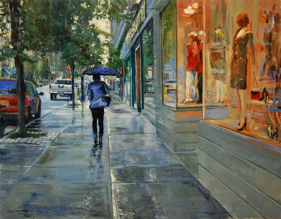 Original art for sale at UGallery.com | Late September Drizzle by ONELIO MARRERO | $950 | Oil painting | 22' h x 28' w | http://www.ugallery.com/oil-painting-late-september-drizzle