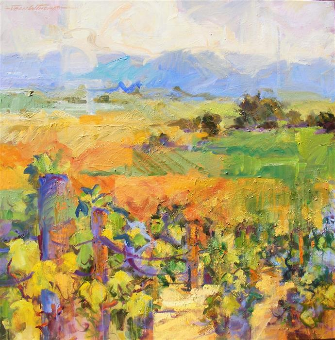 Original art for sale at UGallery.com | Vineyard Vision by JEAN W. THOMAS | $2,775 | Oil painting | 36' h x 36' w | http://www.ugallery.com/oil-painting-vineyard-vision