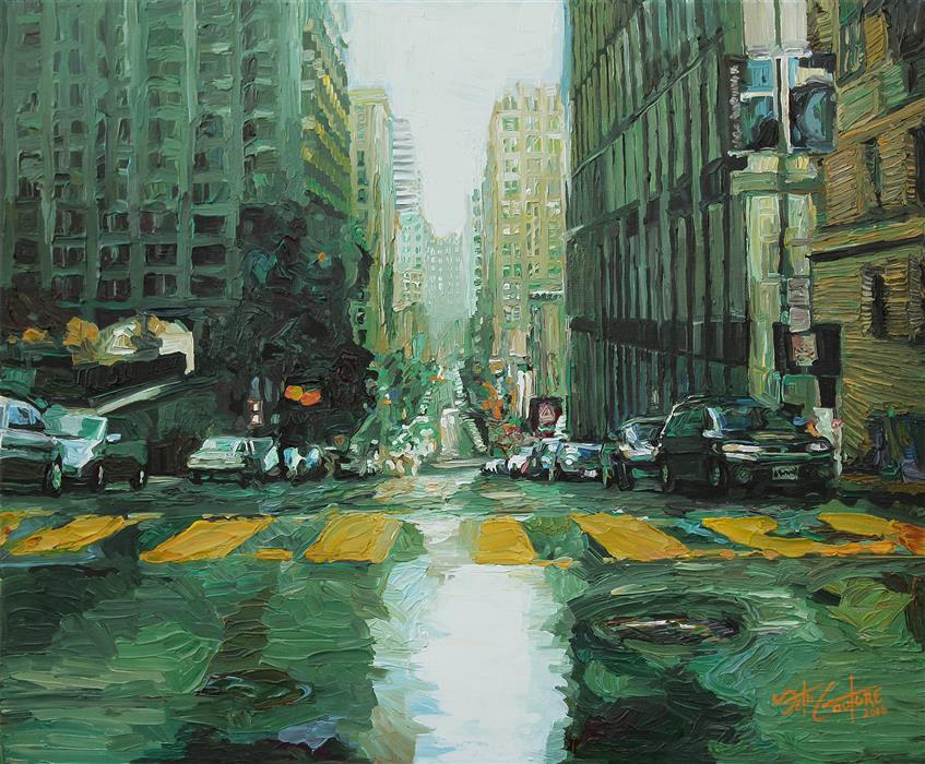 Discover Original Art by Seth Couture | Pine and Grant in Deep Emerald acrylic painting | Art for Sale Online at UGallery