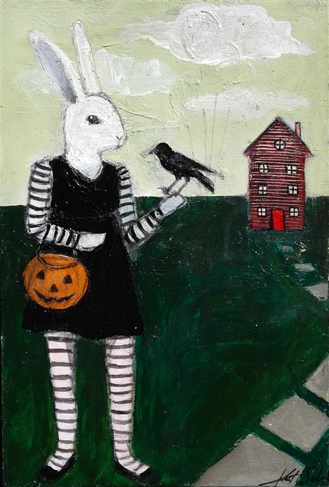 Discover Original Art by Kat Silver | Halloween Hare acrylic painting | Art for Sale Online at UGallery