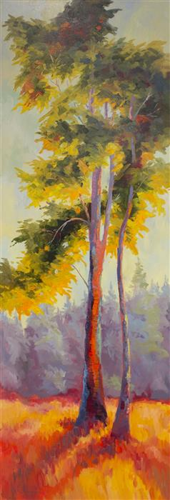 Discover Original Art by Karen E Lewis | Aspen Leaning Left oil painting | Art for Sale Online at UGallery