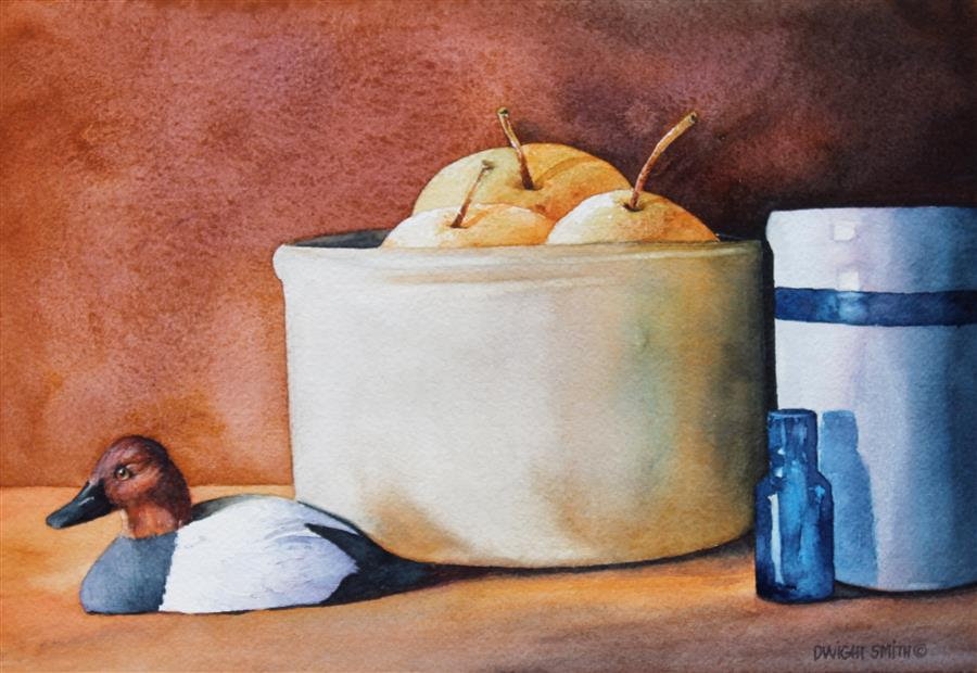 Discover Original Art by Dwight Smith | Asian Pears with Ducks watercolor painting | Art for Sale Online at UGallery