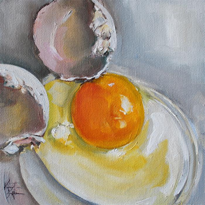 Discover Original Art by Kristine Kainer | Fresh Egg oil painting | Art for Sale Online at UGallery