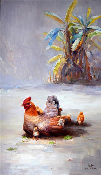 Discover Original Art by Shengnan Li | Motherhood 2 oil painting | Art for Sale Online at UGallery