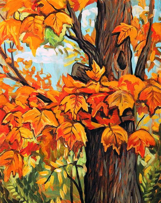 Discover Original Art by Kira Yustak | Autumn Maple acrylic painting | Art for Sale Online at UGallery