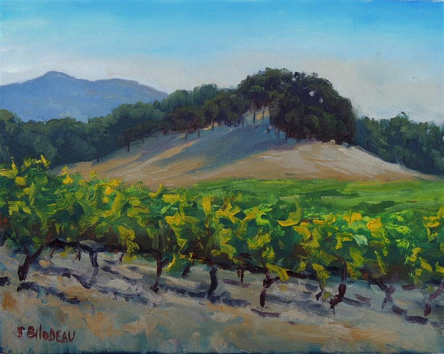 Original art for sale at UGallery.com | Vineyards Along Adobe Creek Road by STEVEN GUY BILODEAU | $450 | Oil painting | 11' h x 14' w | http://www.ugallery.com/oil-painting-vineyards-along-adobe-creek-road