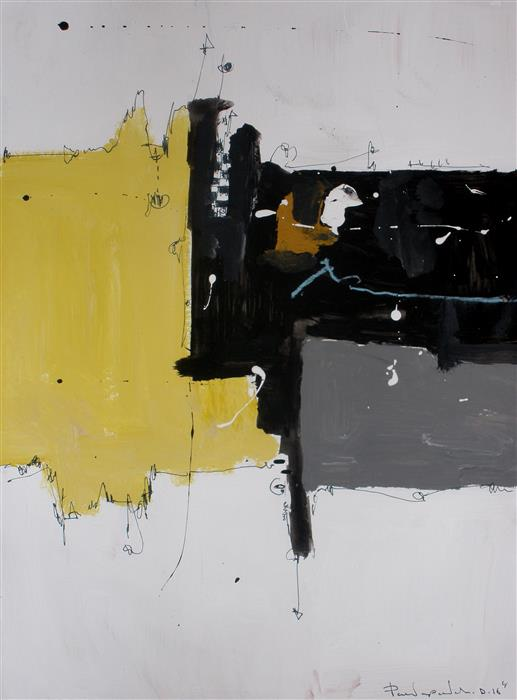 Discover Original Art by Dimitris Pavlopoulos | Yellow No 145 mixed media artwork | Art for Sale Online at UGallery