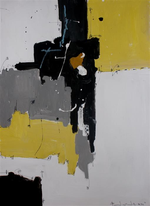 Discover Original Art by Dimitris Pavlopoulos | Yellow No 146 mixed media artwork | Art for Sale Online at UGallery