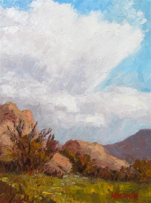 Discover Original Art by Roger Alderman | Texas Canyon Cloudburst oil painting | Art for Sale Online at UGallery