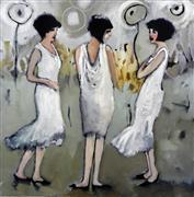 People art,Fashion art,Representational art,Vintage art,oil painting,Evening Chatter