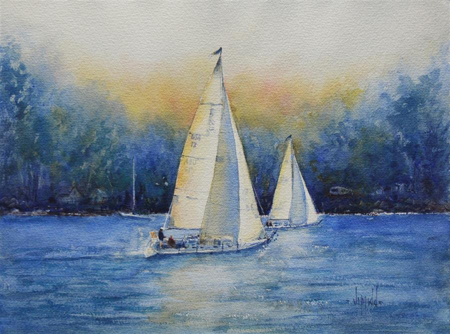 Original art for sale at UGallery.com | Sail Away with Me by JUDY MUDD | $650 | Watercolor painting | 12' h x 16' w | http://www.ugallery.com/watercolor-painting-sail-away-with-me