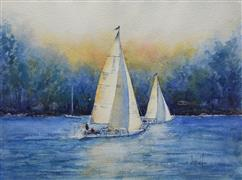 Impressionism art,Seascape art,Sports art,Representational art,watercolor painting,Sail Away with Me