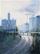 Architecture art,Impressionism art,Representational art,watercolor painting,Union Station