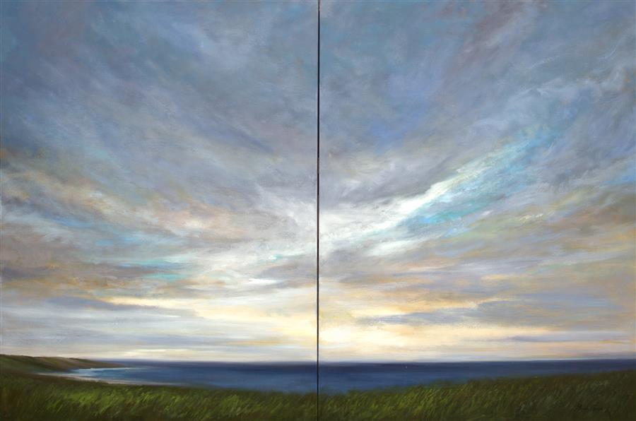 Original art for sale at UGallery.com | Coastal Clouds XV by SHEILA FINCH | $12,550 | Oil painting | 48' h x 72' w | http://www.ugallery.com/oil-painting-coastal-clouds-xv