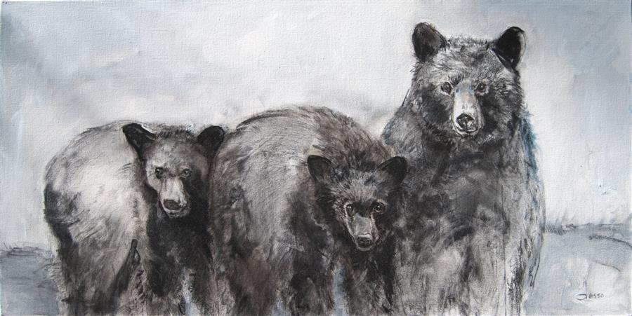 Discover Original Art by Anne Dosso-Powell | The Three Bears mixed media artwork | Art for Sale Online at UGallery